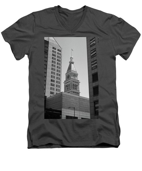 Denver - Historic D And F Clocktower 2 Bw Men's V-Neck T-Shirt by Frank Romeo