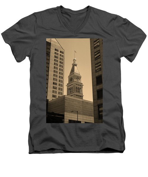 Men's V-Neck T-Shirt featuring the photograph Denver - Historic D F Clocktower 2 Sepia by Frank Romeo