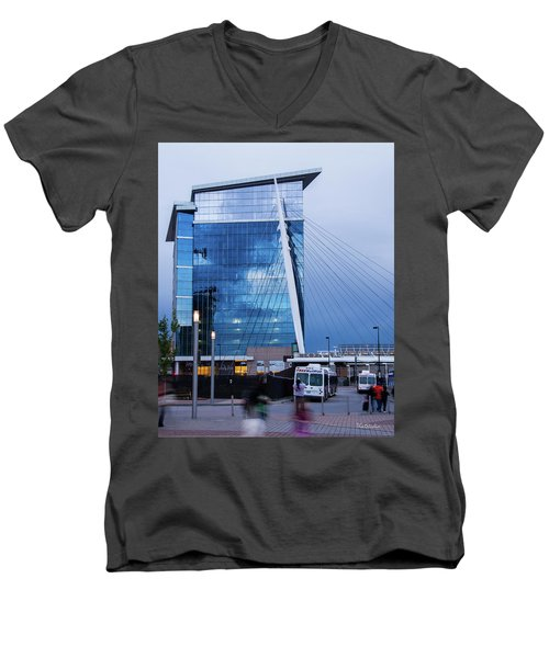 Men's V-Neck T-Shirt featuring the photograph Denver Union Station And Milennium Bridge by Tim Kathka