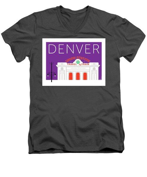 Denver Union Station/purple Men's V-Neck T-Shirt