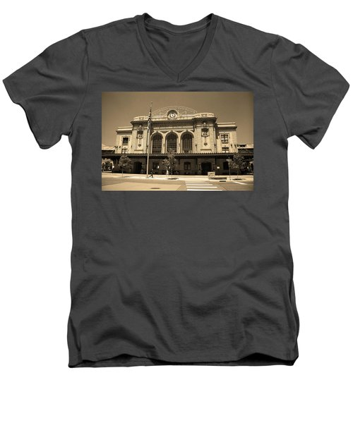 Men's V-Neck T-Shirt featuring the photograph Denver - Union Station Sepia 5 by Frank Romeo
