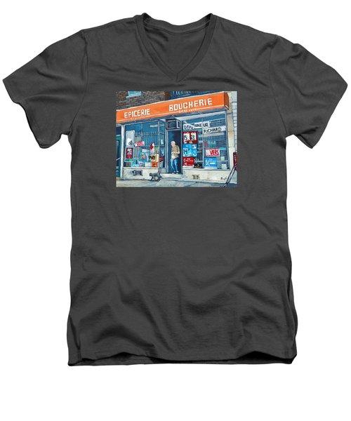 Depanneur Richard Men's V-Neck T-Shirt by Reb Frost