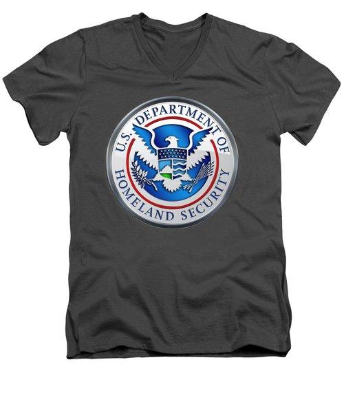 Department Of Homeland Security - D H S Emblem On Red Velvet Men's V-Neck T-Shirt