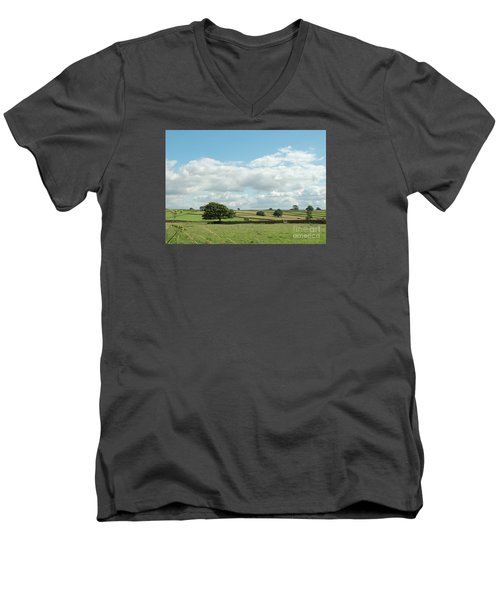 Derbyshire Landscape Men's V-Neck T-Shirt by Mini Arora