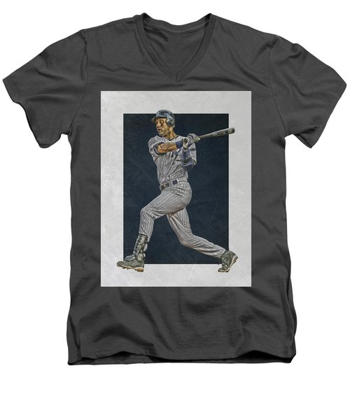 Derek Jeter New York Yankees Art 2 Men's V-Neck T-Shirt by Joe Hamilton