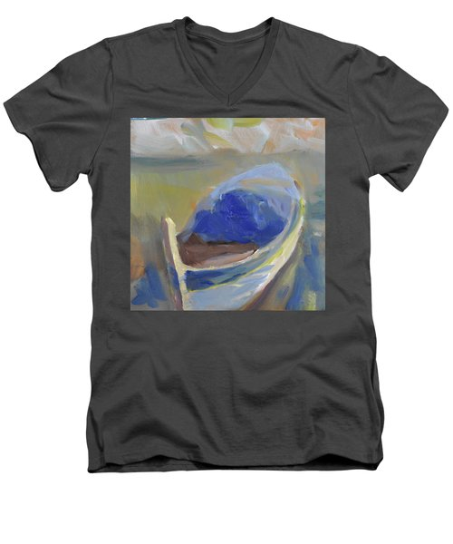 Men's V-Neck T-Shirt featuring the painting Derek's Boat. by Julie Todd-Cundiff