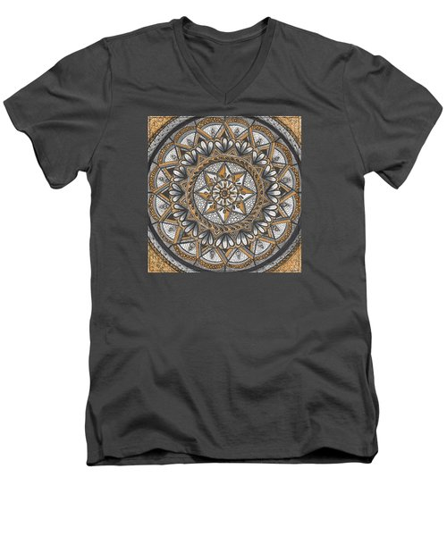 Men's V-Neck T-Shirt featuring the drawing Des Tapestry In Gold-grey-black by Kathy Sheeran