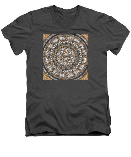 Des Tapestry In Gold-grey-black Men's V-Neck T-Shirt by Kathy Sheeran
