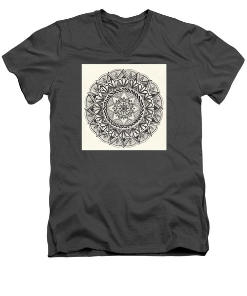 Men's V-Neck T-Shirt featuring the drawing Des Tapestry Medallion by Kathy Sheeran