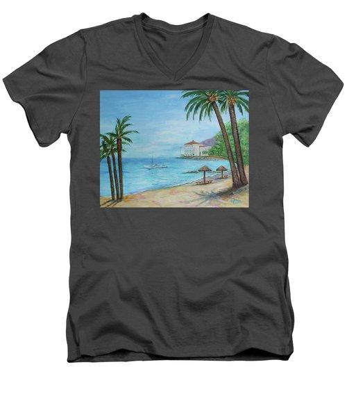 Descanso Beach, Catalina Men's V-Neck T-Shirt