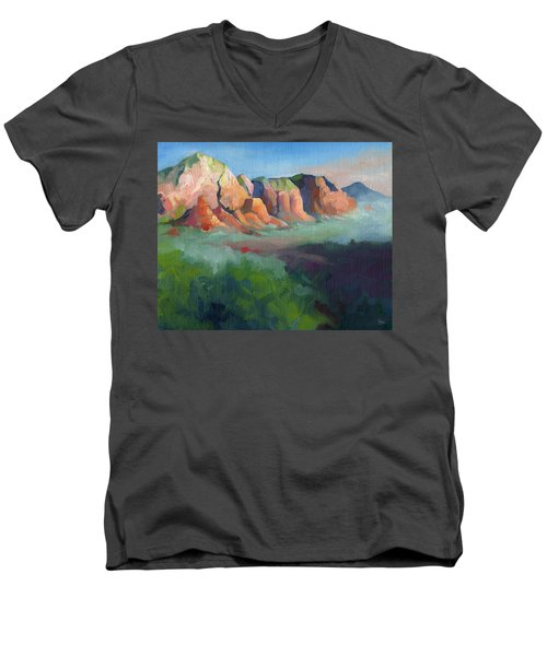 Desert Afternoon Mountains Sky And Trees Men's V-Neck T-Shirt