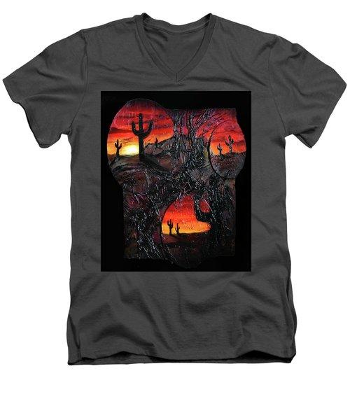 Desert Men's V-Neck T-Shirt by Angela Stout