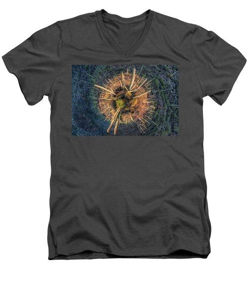 Men's V-Neck T-Shirt featuring the photograph Desert Big Bang by Lynn Geoffroy