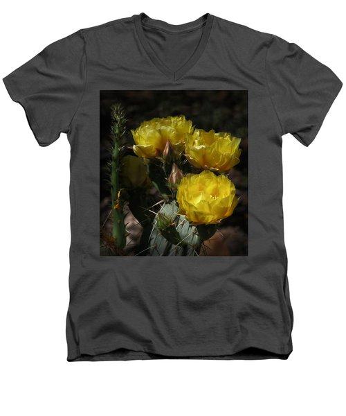 Desert Blooming Men's V-Neck T-Shirt by Elaine Malott