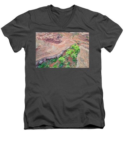 desert canyon in Utah aerial view Men's V-Neck T-Shirt