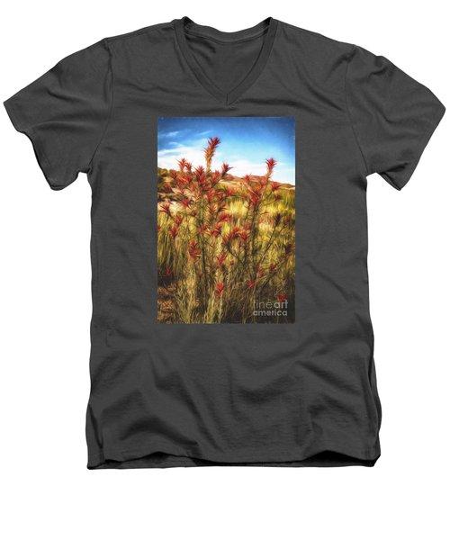 Desert Flora  ... Men's V-Neck T-Shirt by Chuck Caramella