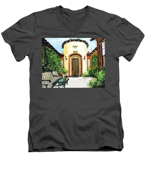 Men's V-Neck T-Shirt featuring the painting Desert Getaway by Tom Riggs