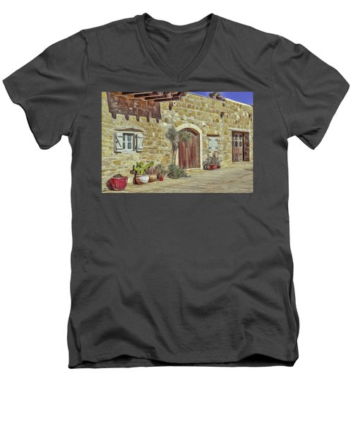Men's V-Neck T-Shirt featuring the painting Desert House by Harry Warrick