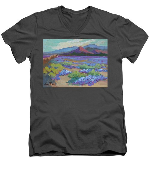 Men's V-Neck T-Shirt featuring the painting Desert In Bloom by Diane McClary