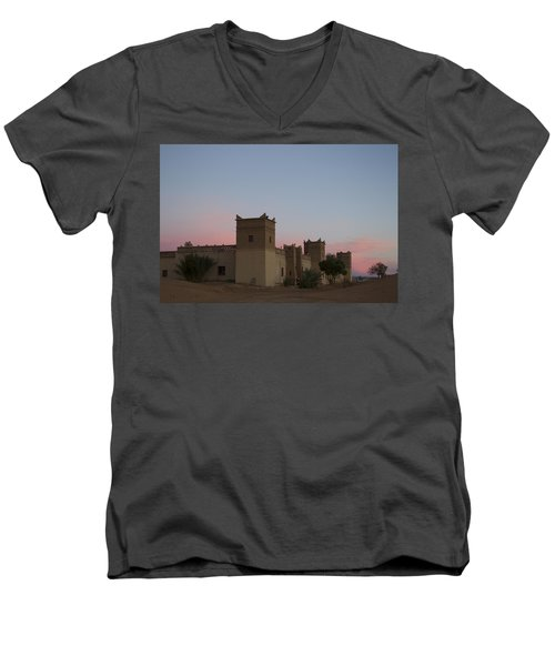 Men's V-Neck T-Shirt featuring the tapestry - textile Desert Kasbah Morocco by Kathy Adams Clark