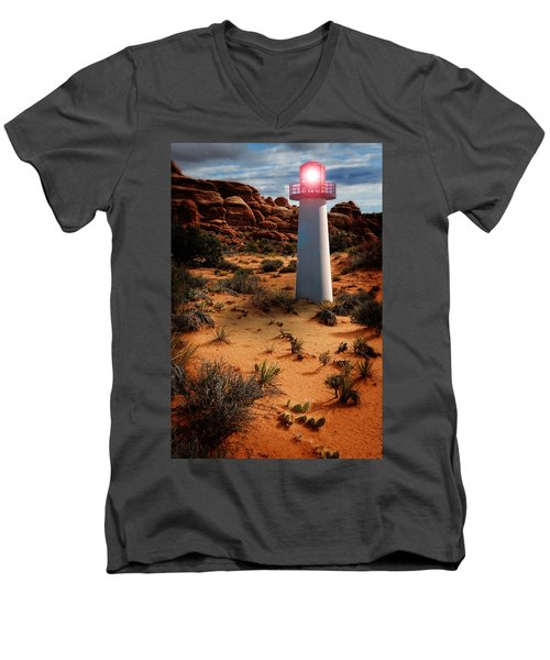 Desert Lighthouse Men's V-Neck T-Shirt