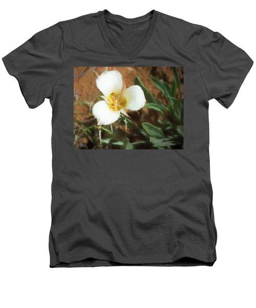 Desert Mariposa Lily Men's V-Neck T-Shirt