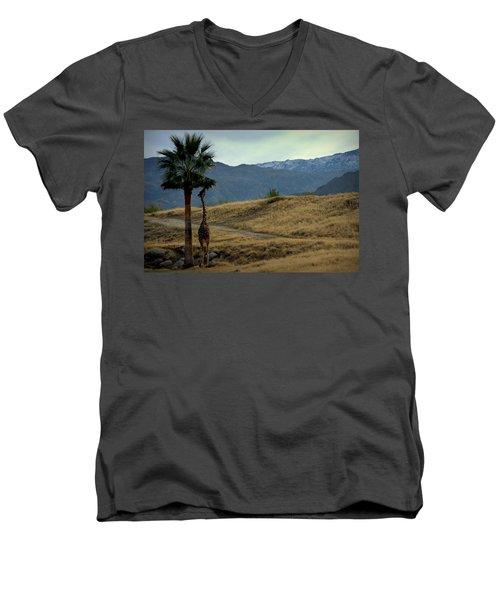 Men's V-Neck T-Shirt featuring the photograph Desert Palm Giraffe 001 by Guy Hoffman