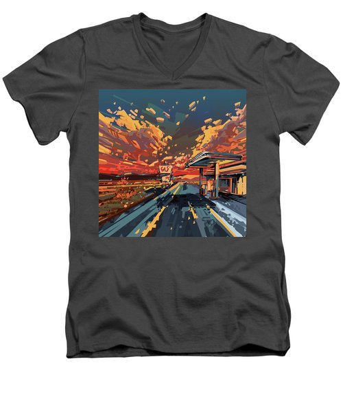 Desert Road Landscape 2 Men's V-Neck T-Shirt by Bekim Art