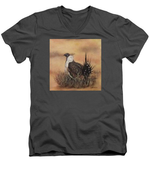 Men's V-Neck T-Shirt featuring the painting Desert Sage Grouse by Roseann Gilmore