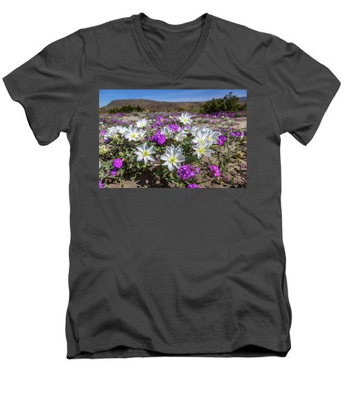 Men's V-Neck T-Shirt featuring the photograph Desert Super Bloom 2017 by Peter Tellone