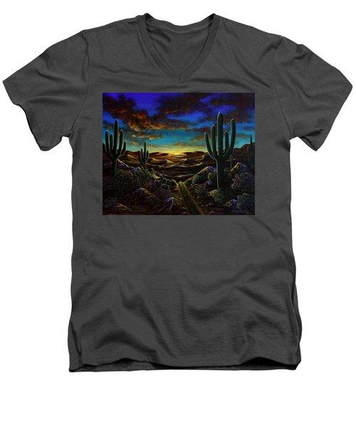 Desert Trail Men's V-Neck T-Shirt by Lance Headlee