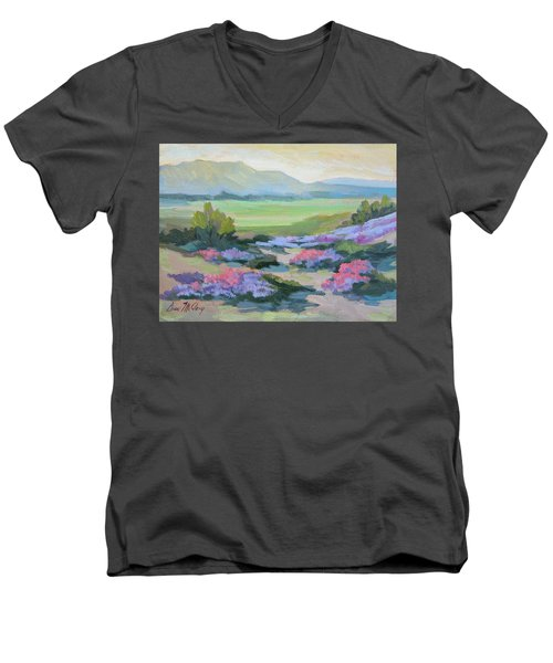 Men's V-Neck T-Shirt featuring the painting Desert Verbena 1 by Diane McClary