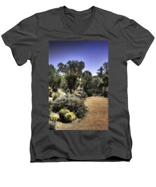 Men's V-Neck T-Shirt featuring the photograph Desert Walkway by Lynn Geoffroy