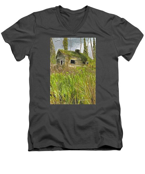 Men's V-Neck T-Shirt featuring the digital art Deserted by Dale Stillman
