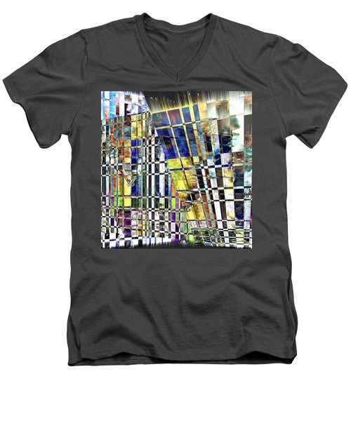Men's V-Neck T-Shirt featuring the digital art Desperate Reflections by Seth Weaver