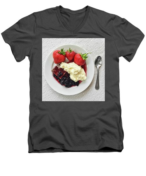 Dessert With Strawberries And Whipped Cream Men's V-Neck T-Shirt by GoodMood Art