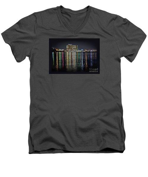 Destin Night Across The Estuary Men's V-Neck T-Shirt by Walt Foegelle