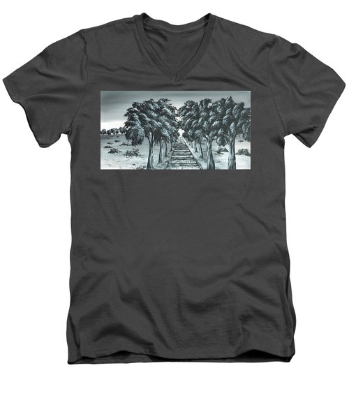 Men's V-Neck T-Shirt featuring the painting Destination 2 by Kenneth Clarke