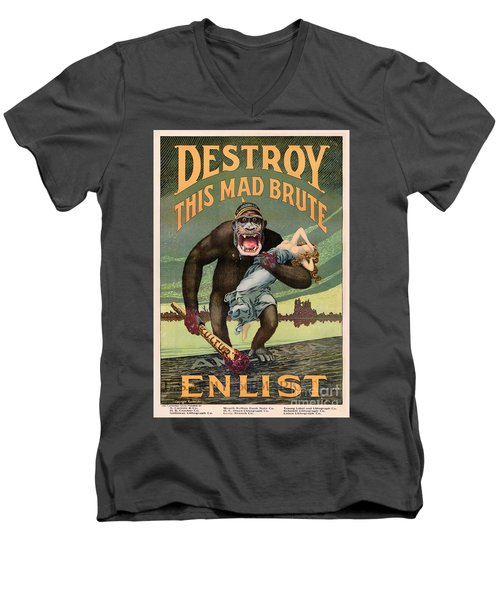 Destroy This Mad Brute - Restored Vintage Poster Men's V-Neck T-Shirt