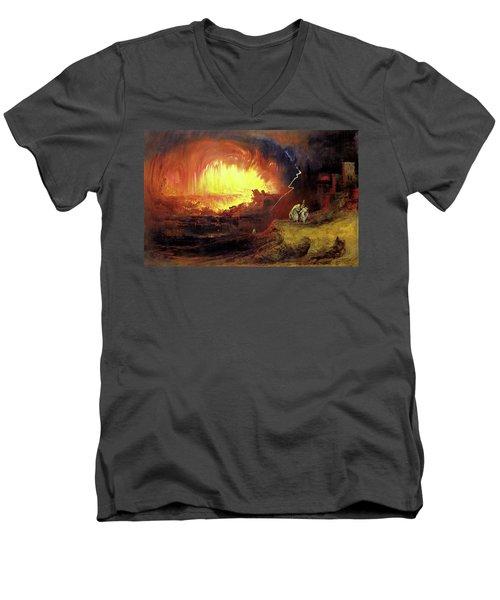Destruction Of Sodom And Gomorah Men's V-Neck T-Shirt