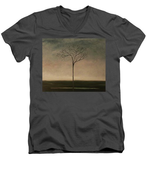 Men's V-Neck T-Shirt featuring the painting Det Lille Treet - The Little Tree by Tone Aanderaa