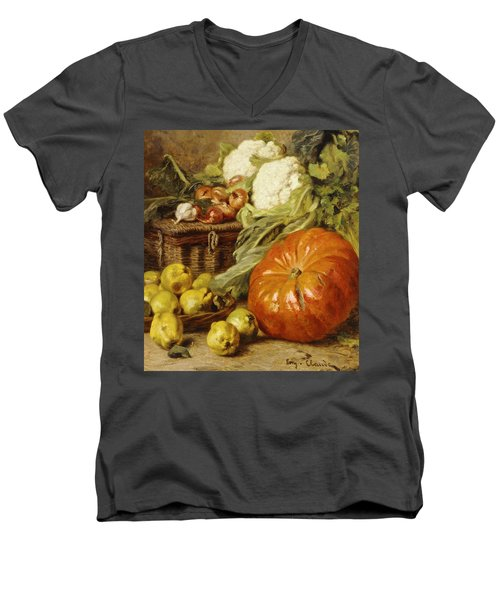 Detail Of A Still Life With A Basket, Pears, Onions, Cauliflowers, Cabbages, Garlic And A Pumpkin Men's V-Neck T-Shirt