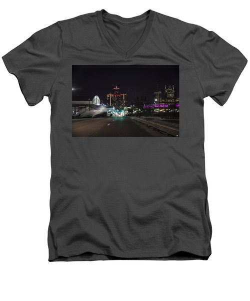 Men's V-Neck T-Shirt featuring the photograph Detroit Michigan by Nicholas Grunas