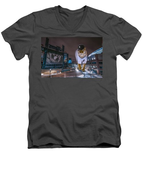 Men's V-Neck T-Shirt featuring the photograph Detroit Tigers At  Comerica Park by Nicholas  Grunas