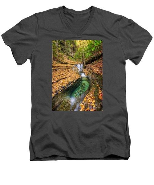 Devils Bathtub Autumn Men's V-Neck T-Shirt by Anthony Heflin