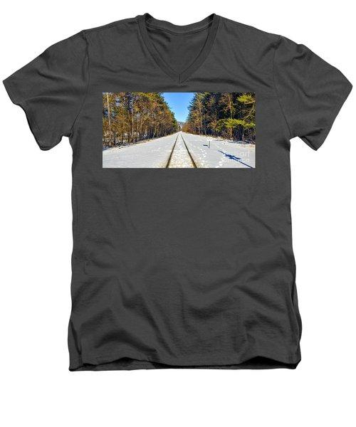 Men's V-Neck T-Shirt featuring the photograph Devil's Lake Railroad by Ricky L Jones