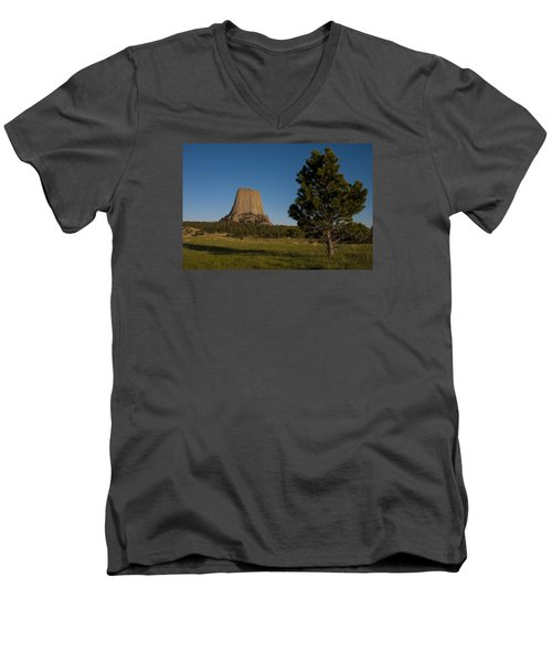 Men's V-Neck T-Shirt featuring the photograph Devil's Tower by Gary Lengyel