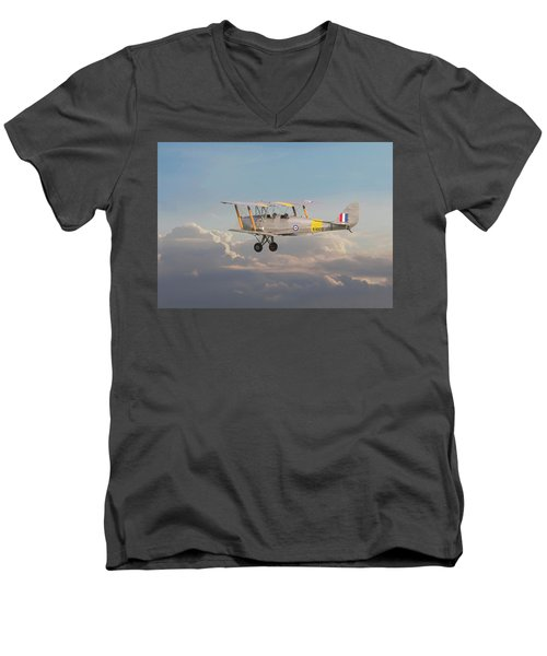 Men's V-Neck T-Shirt featuring the digital art Dh Tiger Moth - 'first Steps' by Pat Speirs