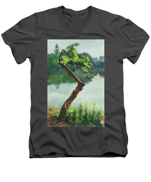 Dhanmondi Lake 03 Men's V-Neck T-Shirt by Helal Uddin