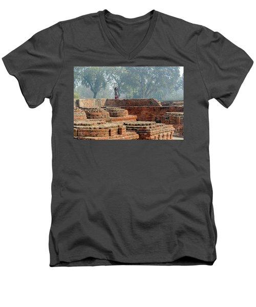 Dharma Chakra Jinavihara 02 Men's V-Neck T-Shirt